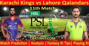 Today Match Prediction-Karachi Kings vs Lahore Qalandars-PSL T20 2021-11th Match-Who Will Win