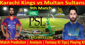Today Match Prediction-Karachi Kings vs Multan Sultans-PSL T20 2021-9th Match-Who Will Win