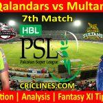 Today Match Prediction-Lahore Qalandars vs Multan Sultans-PSL T20 2021-7th Match-Who Will Win