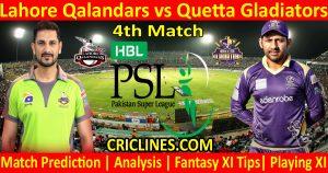 Today Match Prediction-Lahore Qalandars vs Quetta Gladiators-PSL T20 2021-4th Match-Who Will Win