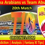 Today Match Prediction-Maratha Arabians vs Team Abu Dhabi-T10 League-20th Match-Who Will Win