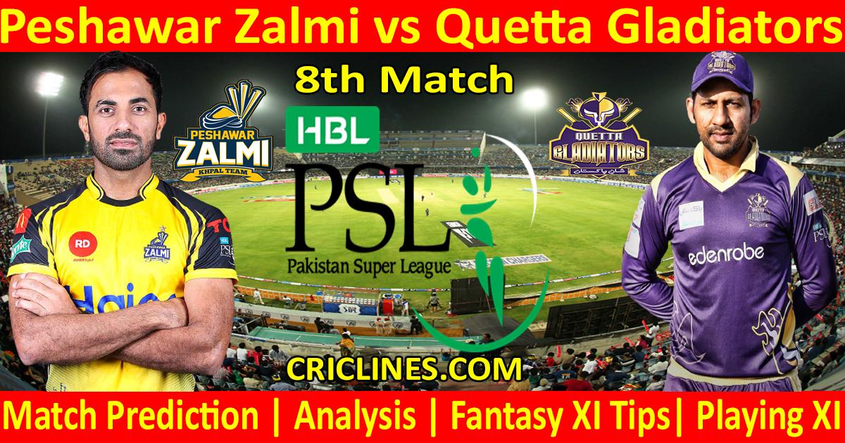 Today Match Prediction-Peshawar Zalmi vs Quetta Gladiators-PSL T20 2021-8th Match-Who Will Win