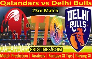 Today Match Prediction-Qalandars vs Delhi Bulls-T10 League-23rd Match-Who Will Win