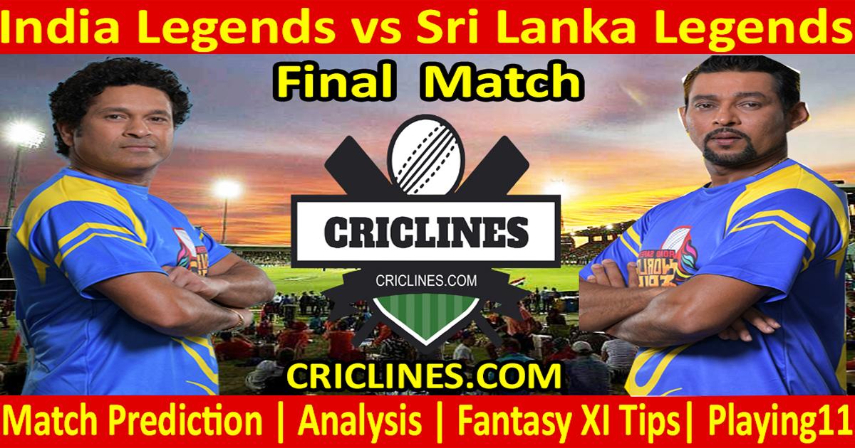 Today Match Prediction-India Legends vs Sri Lanka Legends-Final-Who Will Win