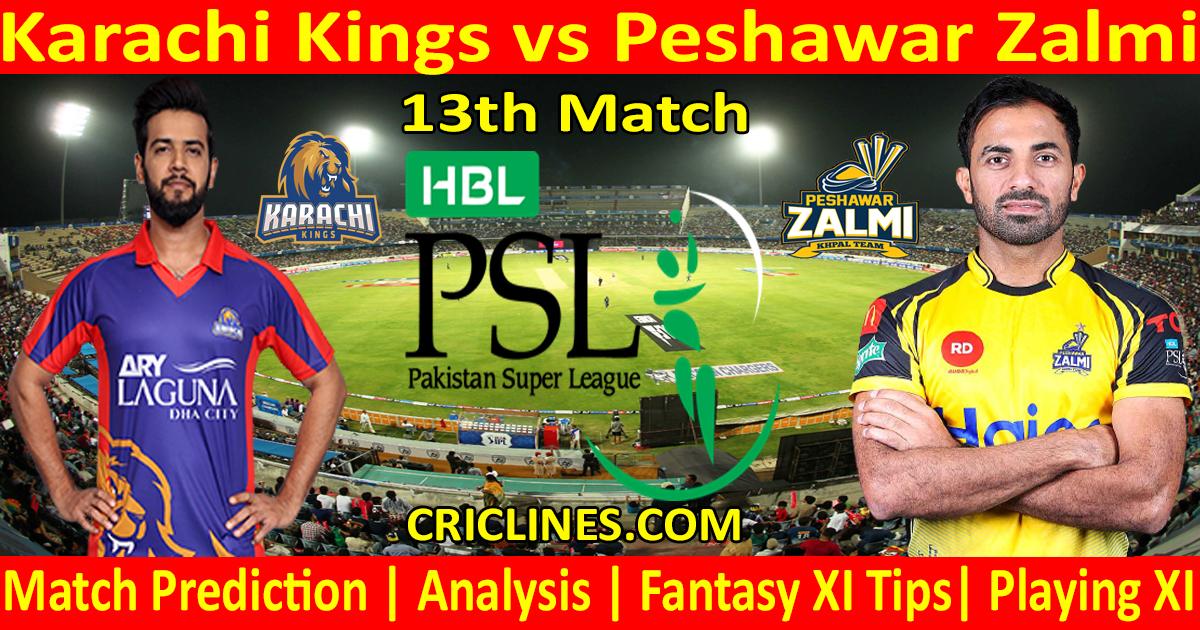 Today Match Prediction-Karachi Kings vs Peshawar Zalmi-PSL T20 2021-13th Match-Who Will Win