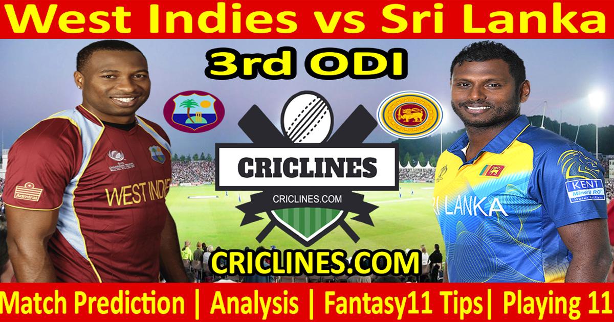 Today Match Prediction-West Indies vs Sri Lanka-3rd ODI-2021-Who Will Win