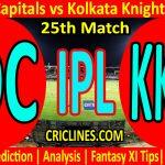 Today Match Prediction-Delhi Capitals vs Kolkata Knight Riders-IPL T20 2021-25th Match-Who Will Win