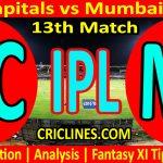 Today Match Prediction-Delhi Capitals vs Mumbai Indians-IPL T20 2021-13th Match-Who Will Win