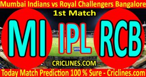Today Match Prediction-Mumbai Indians vs Royal Challengers Bangalore-IPL T20 2021-1st Match-Who Will Win