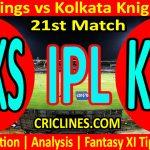 Today Match Prediction-Punjab Kings vs Kolkata Knight Riders-IPL T20 2021-21st Match-Who Will Win