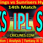 Today Match Prediction-Punjab Kings vs Sunrisers Hyderabad-IPL T20 2021-14th Match-Who Will Win