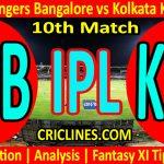 Today Match Prediction-Royal Challengers Bangalore vs Kolkata Knight Riders-IPL T20 2021-10th Match-Who Will Win