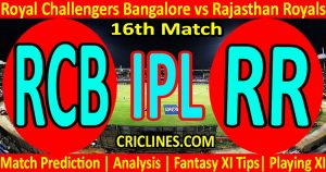 Today Match Prediction-Royal Challengers Bangalore vs Rajasthan Royals-IPL T20 2021-16th Match-Who Will Win