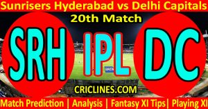 Today Match Prediction-Sunrisers Hyderabad vs Delhi Capitals-IPL T20 2021-20th Match-Who Will Win