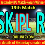 Who Won Yesterday IPL 12th Match-Chennai Super Kings vs Rajasthan Royals-Yesterday IPL Match Result-Winner-Scorecard