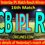 Who Won Yesterday IPL 16th Match-Royal Challengers Bangalore vs Rajasthan Royals-Yesterday IPL Match Result-Winner-Scorecard