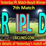 Who Won Yesterday IPL 7th Match-Rajasthan Royals vs Delhi Capitals-Yesterday IPL Match Result-Winner-Scorecard