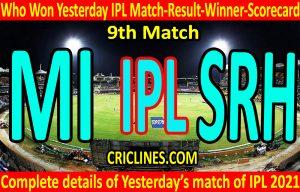 Who Won Yesterday IPL 9th Match-Mumbai Indians vs Sunrisers Hyderabad-Yesterday IPL Match Result-Winner-Scorecard