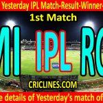 Who Won Yesterday IPL Match-1st Match-MI-vs-RCB-Yesterday IPL Match Result and Winner-Scorecard