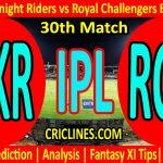 Today Match Prediction-Kolkata Knight Riders vs Royal Challengers Bangalore-IPL T20 2021-30th Match-Who Will Win