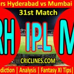 Today Match Prediction-Sunrisers Hyderabad vs Mumbai Indians-IPL T20 2021-31st Match-Who Will Win