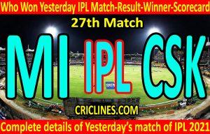 Who Won Yesterday IPL 27th Match-Mumbai Indians vs Chennai Super Kings-Yesterday IPL Match Result-Winner-Scorecard
