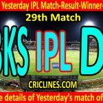 Who Won Yesterday IPL 29th Match-Punjab Kings vs Delhi Capitals-Yesterday IPL Match Result-Winner-Scorecard