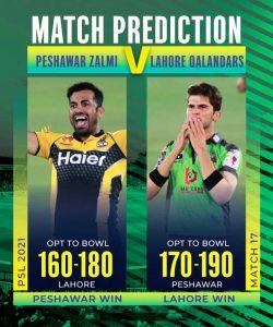 PSL T20 Match Prediction-Lahore vs Peshawar