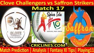 Today Match Prediction-Clove Challengers vs Saffron Strikers-Spice Isle T10 2021-17th Match-Who Will Win