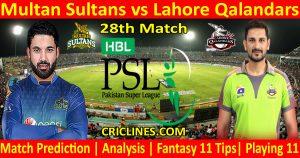 Today Match Prediction-Multan Sultans vs Lahore Qalandars-PSL T20 2021-28th Match-Who Will Win