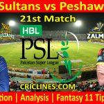 Today Match Prediction-Multan Sultans vs Peshawar Zalmi-PSL T20 2021-21st Match-Who Will Win