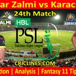 Today Match Prediction-Peshawar Zalmi vs Karachi Kings-PSL T20 2021-24th Match-Who Will Win