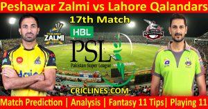Today Match Prediction-Peshawar Zalmi vs Lahore Qalandars-PSL T20 2021-17th Match-Who Will Win