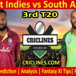Today Match Prediction-West Indies vs South Africa-3rd T20 2021-Who Will Win
