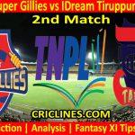 Today Match Prediction-Chepauk Super Gillies vs IDream Tiruppur Tamizhans-TNPL T20 2021-2nd Match-Who Will Win