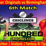Today Match Prediction-Manchester Originals vs Birmingham Phoenix-The Hundred League-2021-6th Match-Who Will Win