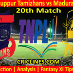 Today Match Prediction-IDream Tiruppur Tamizhans vs Madurai Panthers-TNPL T20 2021-20th Match-Who Will Win