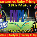 Today Match Prediction-Salem Spartans vs Ruby Trichy Warriors-TNPL T20 2021-18th Match-Who Will Win