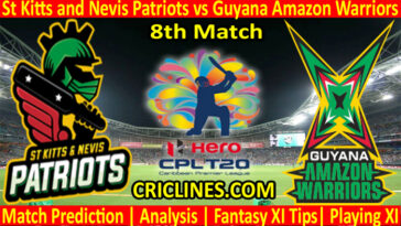 Today Match Prediction-St Kitts and Nevis Patriots vs Guyana Amazon Warriors-CPL T20 2021-8th Match-Who Will Win