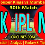 Today Match Prediction-CSK vs MI-IPL T20 2021-30th Match-Who Will Win