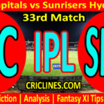 Today Match Prediction-DC vs SRH-IPL T20 2021-33rd Match-Who Will Win