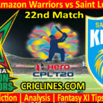 Today Match Prediction-Guyana Amazon Warriors vs Saint Lucia Kings-CPL T20 2021-22nd Match-Who Will Win