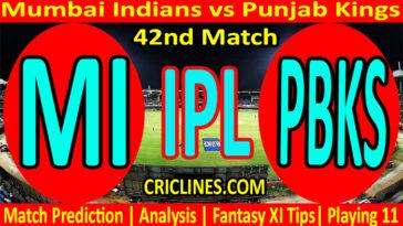 Today Match Prediction-MI vs PBKS-IPL T20 2021-42nd Match-Who Will Win