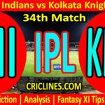 Today Match Prediction-Mumbai Indians vs Kolkata Knight Riders-IPL T20 2021-34th Match-Who Will Win