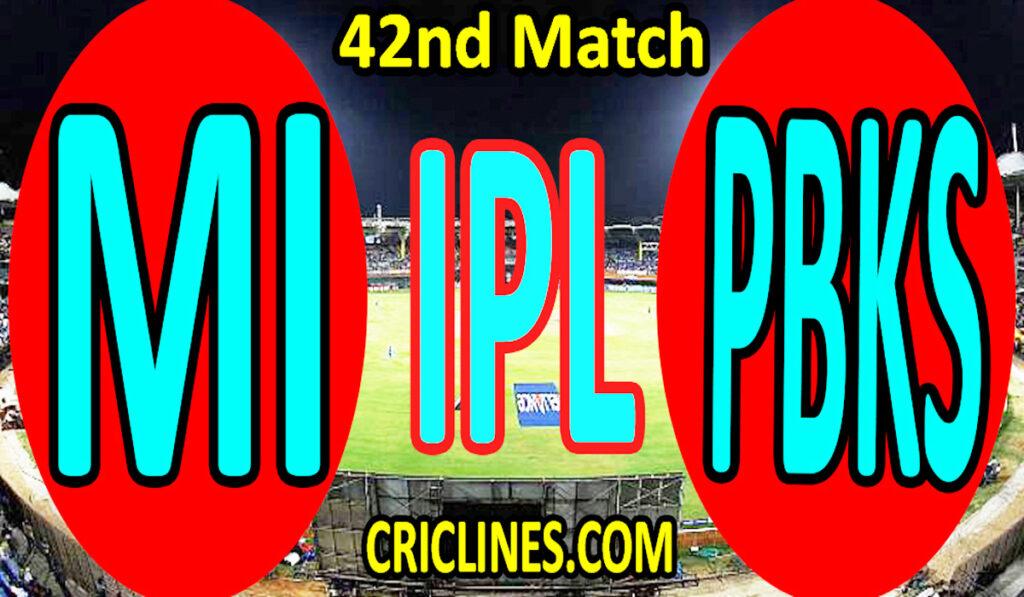 Today Match Prediction-Mumbai Indians vs Punjab Kings-IPL T20 2021-42nd Match-Who Will Win