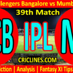 Today Match Prediction-RCB vs MI-IPL T20 2021-39th Match-Who Will Win