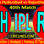 Today Match Prediction-SRh vs RR-IPL T20 2021-40th Match-Who Will Win